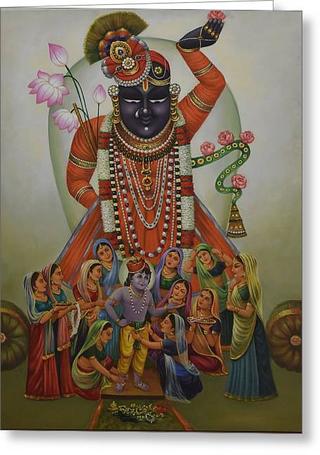 Gopala Greeting Cards - Shrinathji Greeting Card by Rajesh Dukaria
