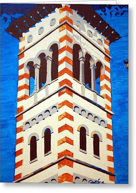 Church Pillars Paintings Greeting Cards - Shrine Bell Tower Detail Greeting Card by Sheri Parris