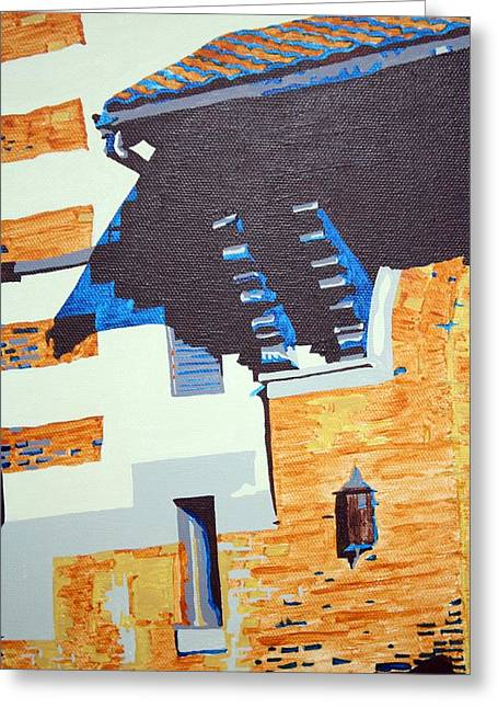 Church Pillars Paintings Greeting Cards - Shrine Corbels Detail Greeting Card by Sheri Parris