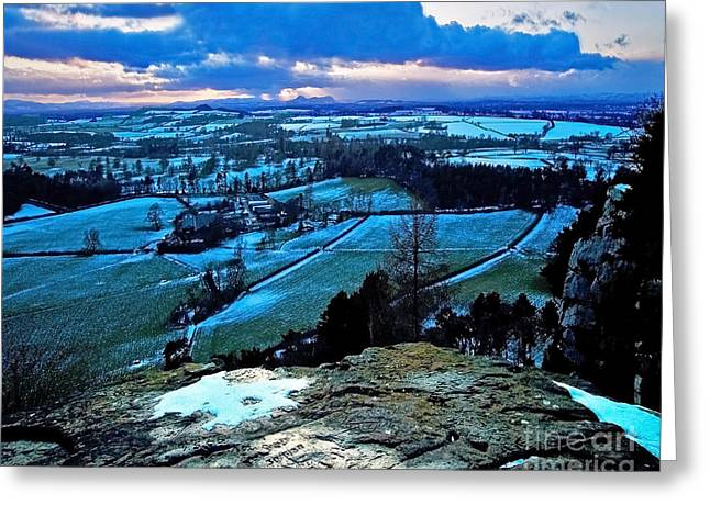 Snowy Night Night Greeting Cards - Shropshire Winter Sunset Scene Greeting Card by Chris Smith