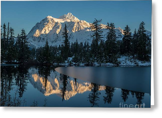 First Snow Greeting Cards - Shuksan Picture Lake Almost Frozen Greeting Card by Mike Reid