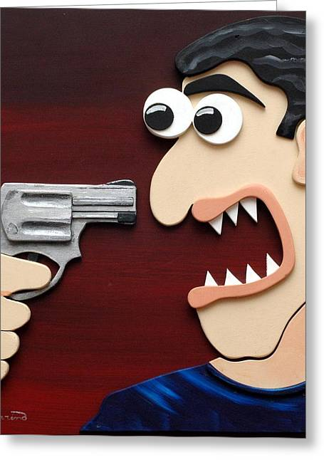 Threat Reliefs Greeting Cards - Shut Up Greeting Card by Sal Marino