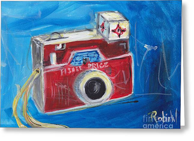 Camera Paintings Greeting Cards - Shutter Bug Greeting Card by Robin Wiesneth