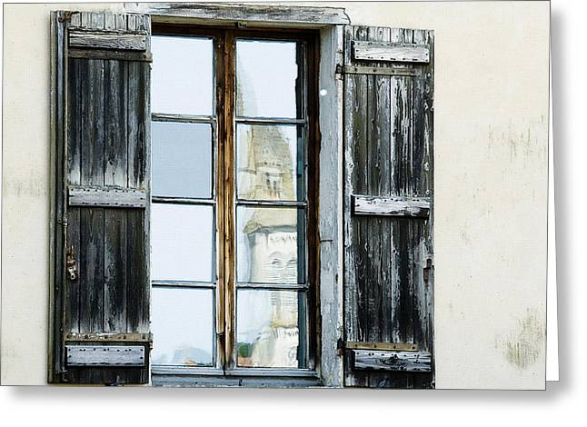 Weathered Shutters Greeting Cards - Shuttered Window in France Greeting Card by Marion McCristall
