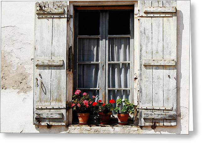 Red Geraniums Greeting Cards - Shutters and Geraniums Greeting Card by Marion McCristall