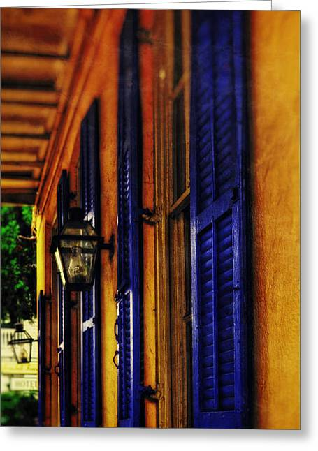 Chrystal Greeting Cards - Shutters and Lamps Greeting Card by Chrystal Mimbs