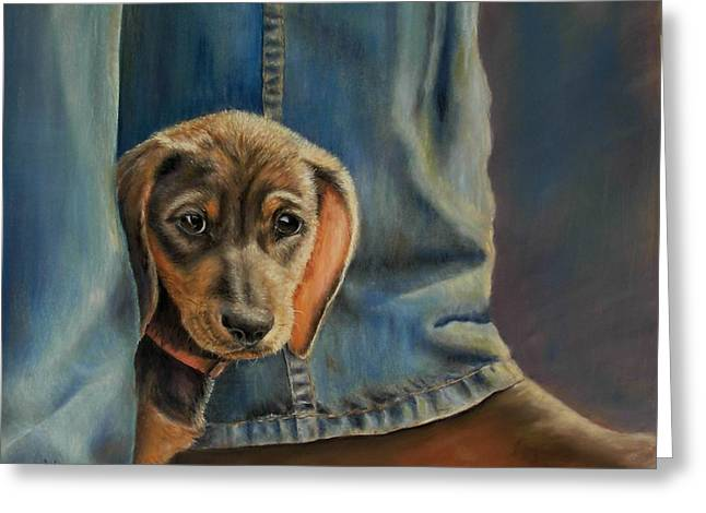 Puppies Pastels Greeting Cards - Shy Boy Greeting Card by Ceci Watson