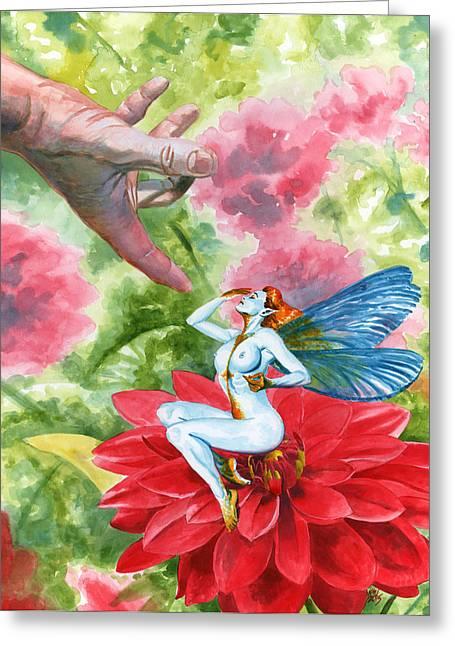 Faerie Paintings Greeting Cards - Shy Faerie Greeting Card by Ken Meyer jr