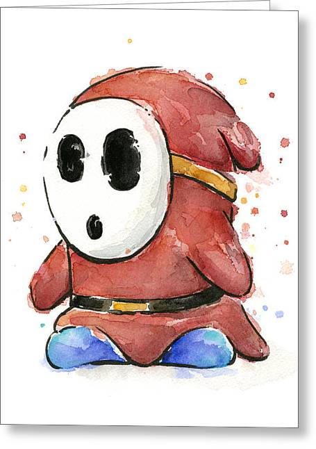 Nintendo Greeting Cards - Shy Guy Watercolor Greeting Card by Olga Shvartsur
