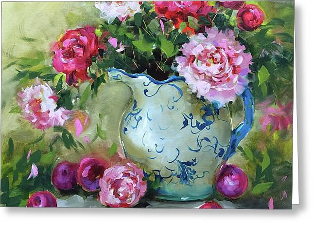 Shy Plums And Pink Peonies Greeting Card by Nancy Medina