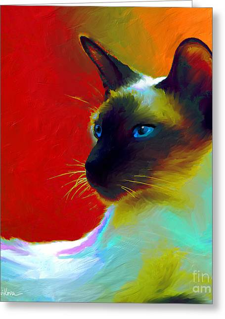 Custom Portrait Greeting Cards - Siamese Cat 10 Painting Greeting Card by Svetlana Novikova
