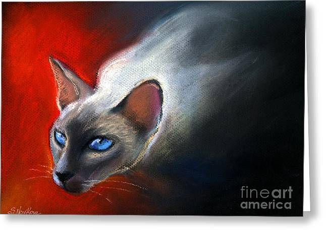 Gift Pastels Greeting Cards - Siamese Cat 7 Painting Greeting Card by Svetlana Novikova