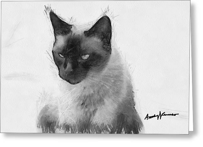 Anthony Caruso Greeting Cards - Siamese Cat Greeting Card by Anthony Caruso