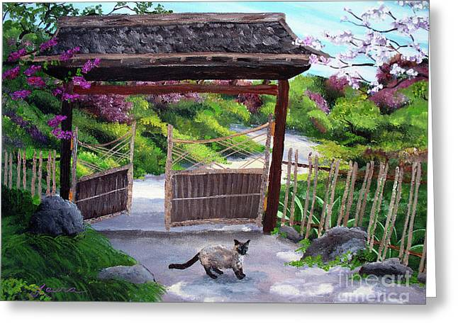 Siamese Cat Greeting Cards - Siamese Cat at Hakone Side Gate Greeting Card by Laura Iverson