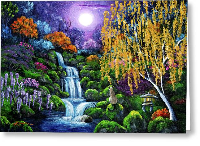 Siamese Cat By A Cascading Waterfall Greeting Card by Laura Iverson