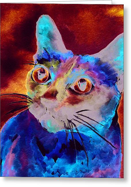 Blue Cat Greeting Cards - Siamese Cat Greeting Card by Christy  Freeman