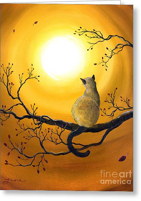 Surreal Cat Landscape Greeting Cards - Siamese Cat in Autumn Glow Greeting Card by Laura Iverson