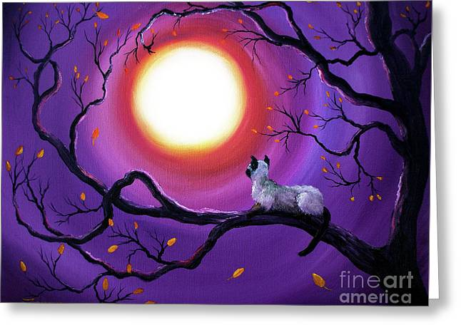 Feng Shui Greeting Cards - Siamese Cat in Purple Moonlight Greeting Card by Laura Iverson