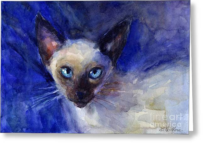 Cat Drawings Greeting Cards - Siamese Cat  Greeting Card by Svetlana Novikova