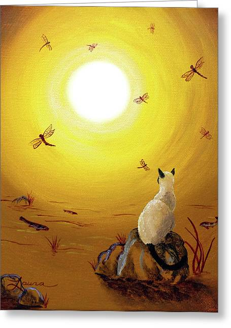 Koi Pond Greeting Cards - Siamese Cat with Red Dragonflies Greeting Card by Laura Iverson