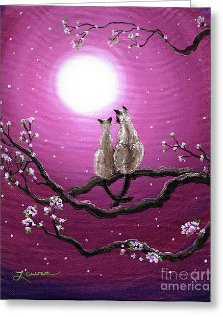 Siamese Cat Greeting Cards - Siamese Cats in Spring Blossoms Greeting Card by Laura Iverson
