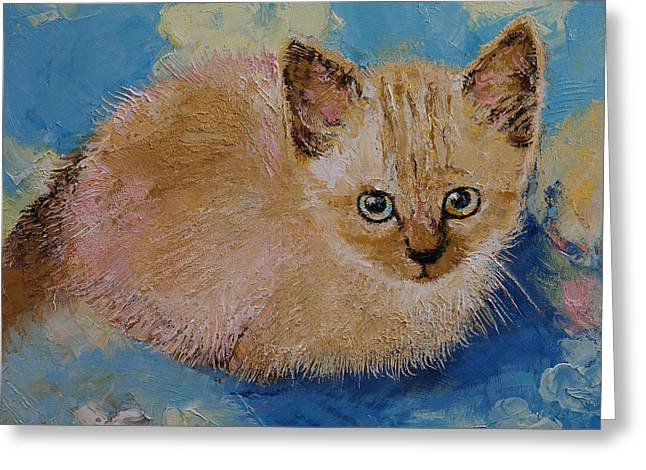 Impressionistic Realism Greeting Cards - Siamese Kitten Greeting Card by Michael Creese