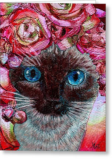 Siamese Kitty Valentine Greeting Card by Michele Avanti