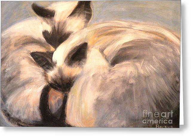Siamese Cat Greeting Card Greeting Cards - Siamese Lovers Greeting Card by Susan A Becker