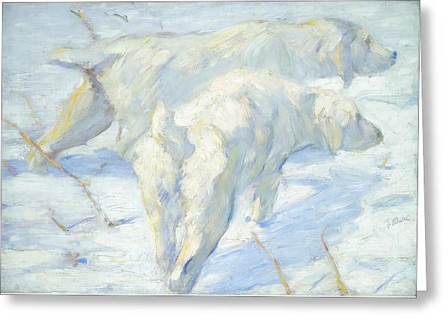 Dog Sled Greeting Cards - Siberian Dogs In The Snow Greeting Card by Franz Marc