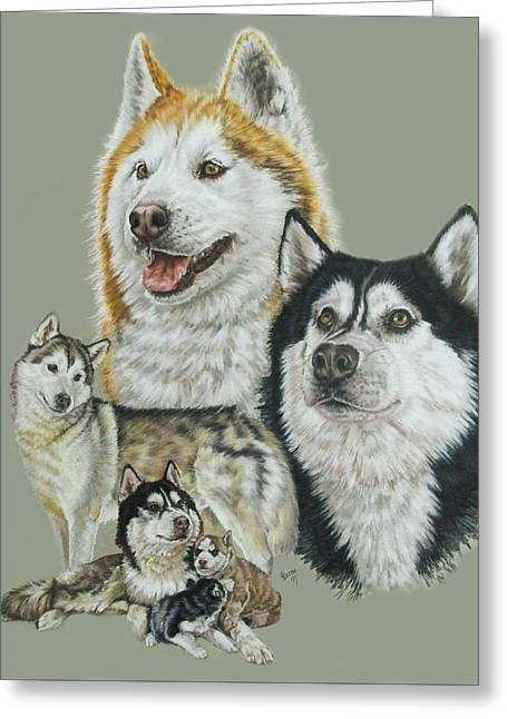 Working Dog Drawings Greeting Cards - Siberian Husky Greeting Card by Barbara Keith