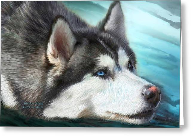 Siberian Husky Greeting Card by Carol Cavalaris