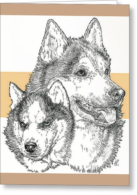 Working Dog Mixed Media Greeting Cards - Siberian Husky Father and Son Greeting Card by Barbara Keith