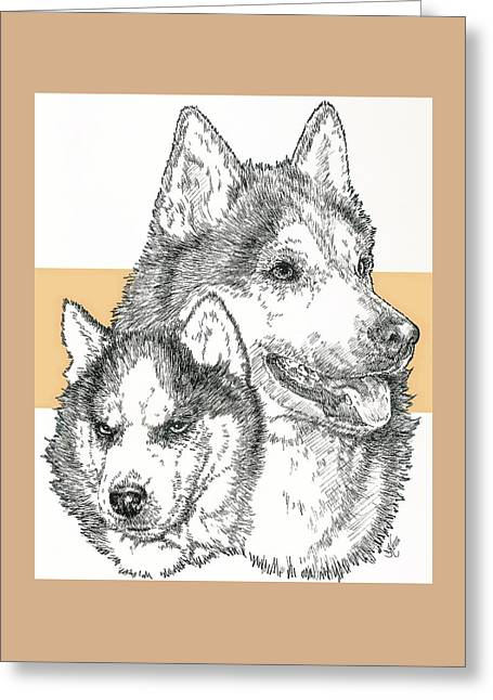 Working Dog Greeting Cards - Siberian Husky Father and Son Greeting Card by Barbara Keith