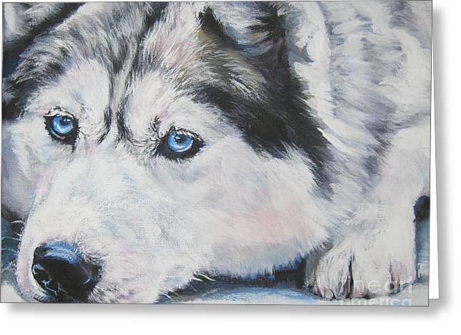 Dog Sled Greeting Cards - Siberian Husky up close Greeting Card by L A Shepard