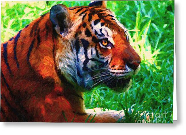 The Tiger Greeting Cards - Siberian Tiger . Photoart Greeting Card by Wingsdomain Art and Photography