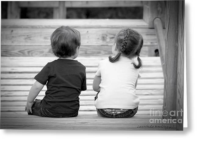 Siblings Greeting Card by Laurinda Bowling