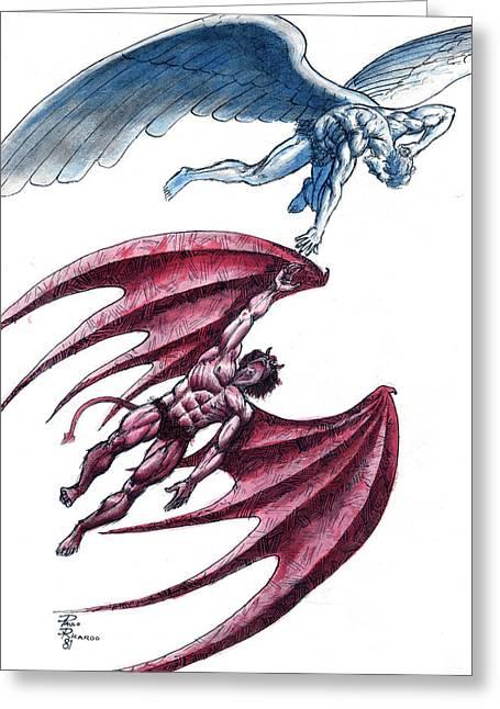 Angel Blues Greeting Cards - Siblings Greeting Card by Paulo Ricardo Almeida