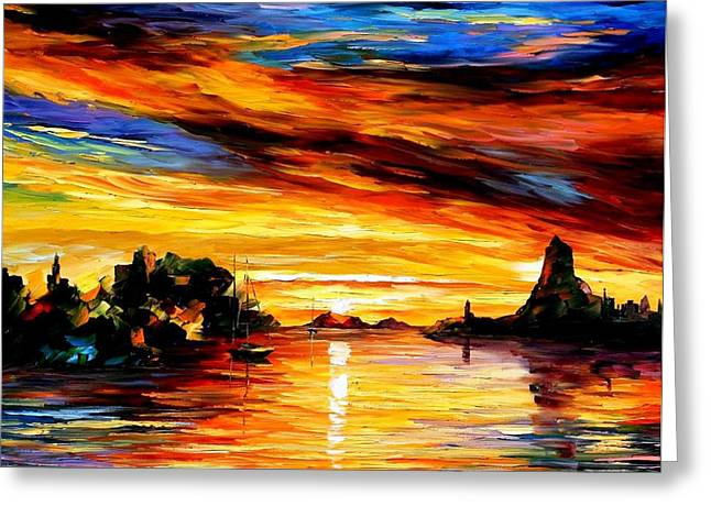 Popular Art Greeting Cards - Sicily-Catania - PALETTE KNIFE Oil Painting On Canvas By Leonid Afremov Greeting Card by Leonid Afremov