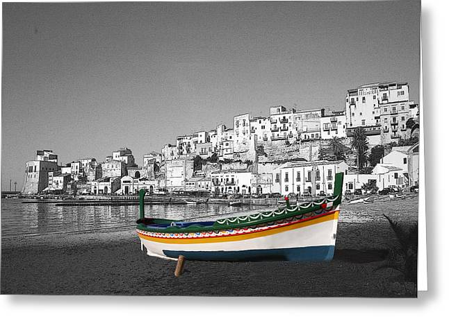 Sicily Fishing Boat  Greeting Card by Jim Kuhlmann