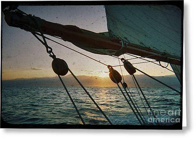 Sicily Greeting Cards - Sicily Sunset Sailing Solwaymaid Greeting Card by Dustin K Ryan