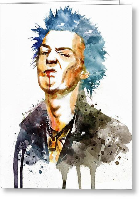 British Celebrities Mixed Media Greeting Cards - Sid Vicious watercolor Greeting Card by Marian Voicu
