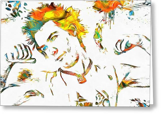 Rock N Roll Mixed Media Greeting Cards - Sid Vicious Watercolor Paint Splatter Greeting Card by Dan Sproul