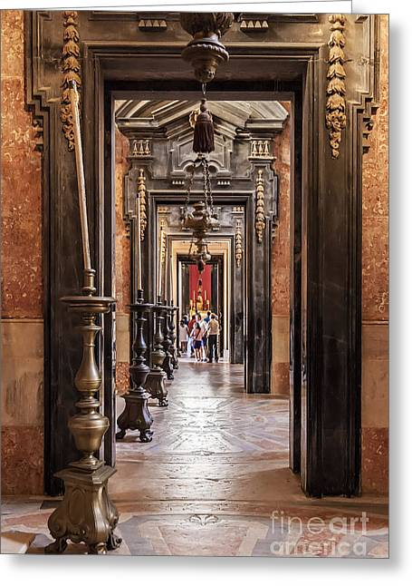 Mafra Greeting Cards - Side aisle of the Basilica of the Mafra Greeting Card by Jose Elias - Sofia Pereira