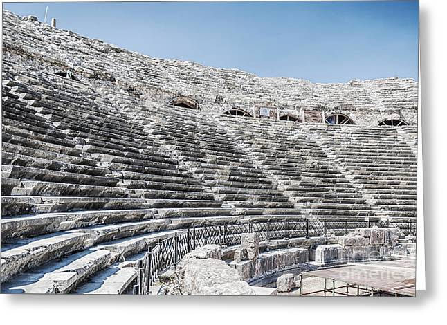 Outdoor Theater Greeting Cards - Side Amphitheatre Ruins Greeting Card by Antony McAulay