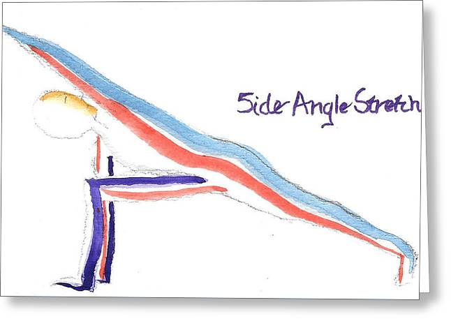 Side Angle Drawings Greeting Cards - Side Angle Stretch Yoga Pose Greeting Card by Whitney Christmas