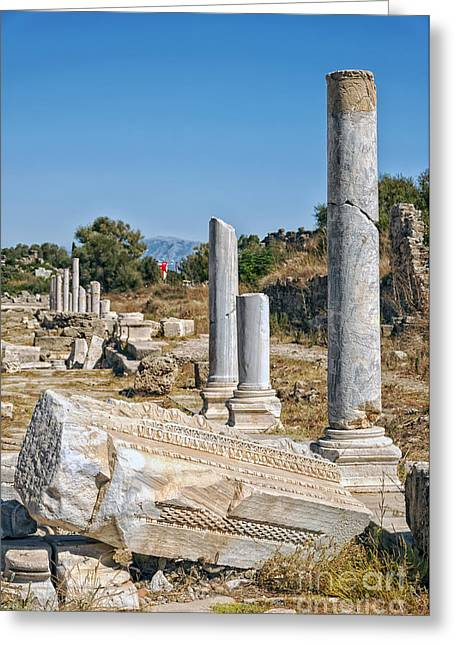 Ruined Empires Greeting Cards - Side Columnated Street Greeting Card by Antony McAulay