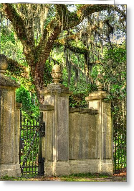 Historic Site Greeting Cards - Side Gate of Wormsloe Greeting Card by Linda Covino