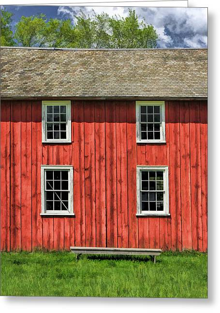 Pealed Greeting Cards - Side of Barn and Windows at Old World Wisconsin Greeting Card by Christopher Arndt