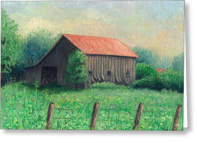 Red Roofed Barn Greeting Cards - Side of the Road Greeting Card by Joe Winkler