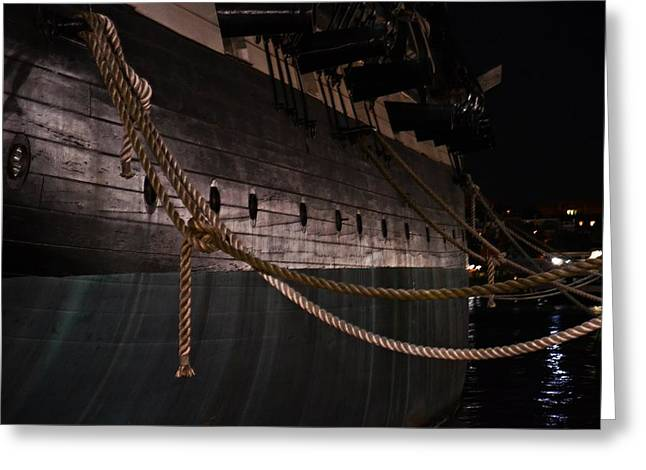 Constellations Greeting Cards - Side of The USS Constellation Navy Ship in Baltimore Harbor Greeting Card by Marianna Mills